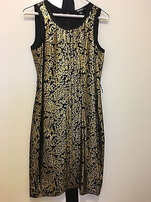 Dkny Gold And Black Lame Cocktail Dress