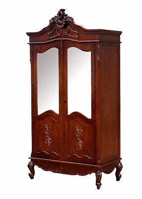 French Double Wardrobe Mahogany Hand Carved Mirrored Armoire Antique Shabby Chic