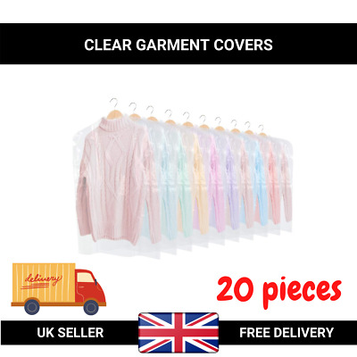 """20x of 40"""" POLYTHENE GARMENT COVERS CLEAR PLASTIC DRY CLEANER CLOTHES BAGS UK"""