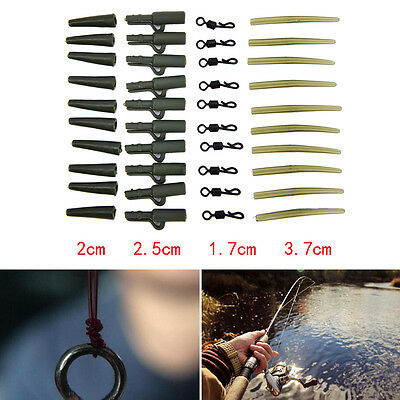 10pc Fishing Tackle carp lead clips Quick Change swivels Anti Tangle Sleeves PL