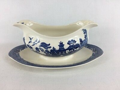Willow Blue Johnson Brothers Gravy Boat & Attached Plate England Vintage MINT