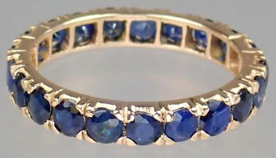 Gorgeous Antique Victorian 10K Rose Gold 3.3ct Sapphire Eternity Ring Size 7.5