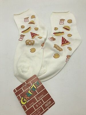 Sockyard Grafeetee Pizza Burger Fast Food Novelty Socks Vintage 1980s Ankle NWT