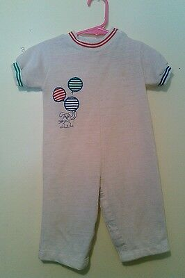 Vtg Baby Boy Coverall Puppy Dog Balloons 70's Retro Nifty Romper