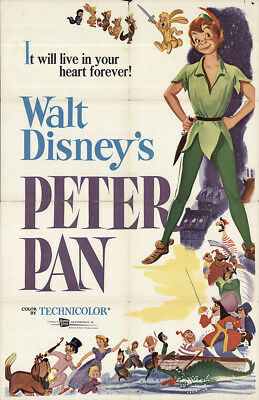 Peter Pan 1958 27x41 Orig Movie Poster FFF-64052 Bobby Driscoll U.S. One Sheet