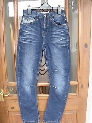 Matalan Carrot Fit Stonewashed Antiqued Jeans Zip Fly Age 12 Years