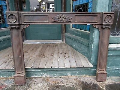Victorian Cast Iron Fireplace Mantel Front W Griffins