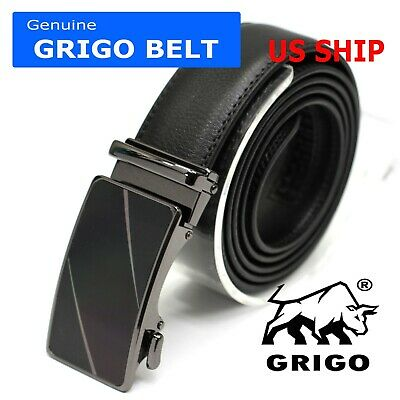 Men's Leather Casual Comfort Dress Belt Automatic Double Stitched Click Buckle