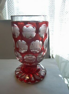 antique  Ruby Red Cut to Clear Glass Goblet Vase spooner historic Panels 1848