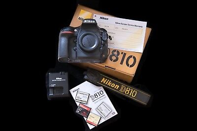 NIKON D810 36.3MP Digital SLR Camera - Black (Body Only). Boxed, with spare CFs