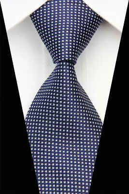 Navy White  Stripe Man Classic JACQUARD Woven Necktie Tie Casual New