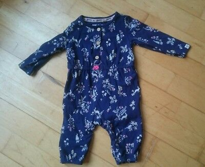Lovely Mantaray jumpsuit/playsuit. girls age 3-6 months, blue with animal print