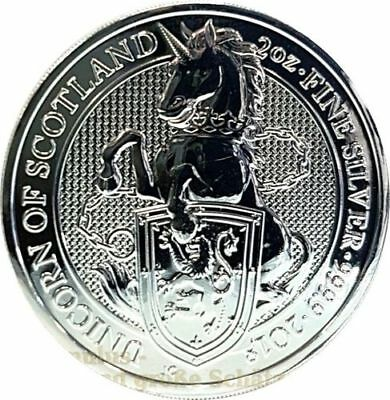 "5 Pfund ""The Queen's Beasts"" 2018, 2 Oz Silber - Unicorn of Scotland - Einhorn"
