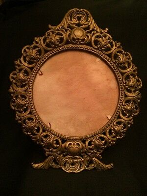 Amazing! Cast Iron Brass Finish Victorian Style Stand Up Mirror or Photo Frame