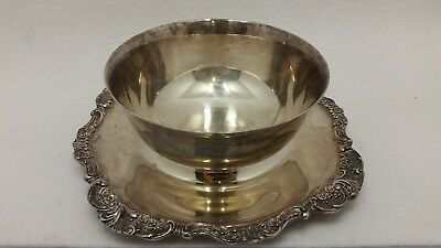 """Baroque by Wallace 247 Silver Plate 6"""" bowl with underplate"""