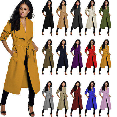 Ladies Coats Womens New Collar Winter Warm Thick Long Top Trench Coat Jacket