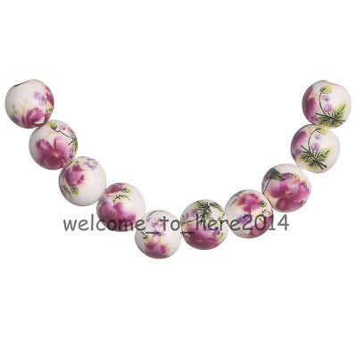 20Pcs Charms 10mm Flower Design Round Ceramic Loose Porcelain Beads Findings