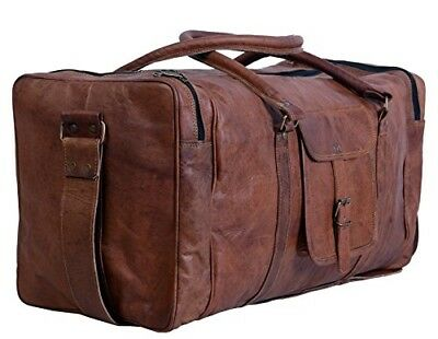 Duffel Travel Bag Carry On Leather 24 Inch Square Gym Sports Overnight Weekend