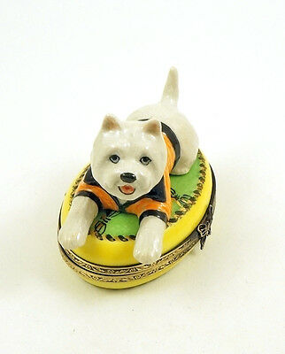 New French Limoges Trinket Box Cute Westie Dog Puppy On Green Rug W Gold Tassels