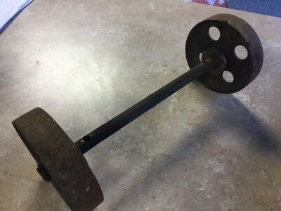 "2 Vtg 6"" CAST IRON METAL INDUSTRIAL CART WHEELS 3/4"" axle Steam Punk"