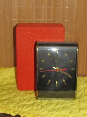 Vintage 1960 RARE OVIVO Battery Clock Art Deco Style In Original Box Working (S)