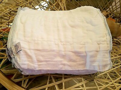 GMD Green Mountain Diapers Clotheez Bleached Newbie Grey Edge Prefolds Lot of 24