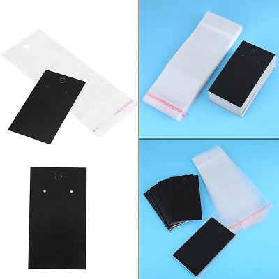 100Pcs Black Earring Display Cards 9cmx5cm W/ Clear Self Adhesive Bags 16.5x6cm