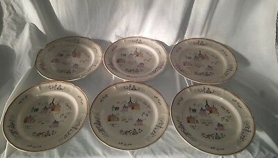 """Vintage Newcor Stoneware dinner plates. set of 6 """"Our Country House"""" Design"""
