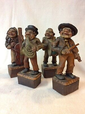 Folk Art Hand Carved Set Of 4 Musicians ~ By Franco Of Italy ~ Rare Set!