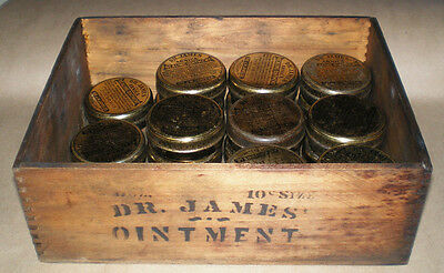 Vintage Medicine Wood Box Dr James Arnica Ointment Pharmacy Store Display Case