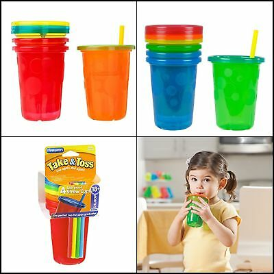 4 Pack Spill-Proof Plastic Cups With Lids Straws Tumbler Sippy Baby Toddler Kids