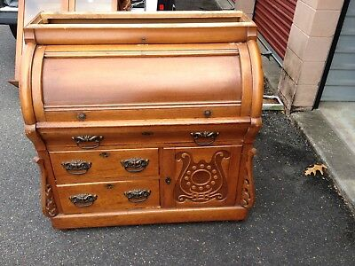 Victorian CYLINDER ROLL DESK With Bookcase Top  ,Circa 1880 Orig  Finish