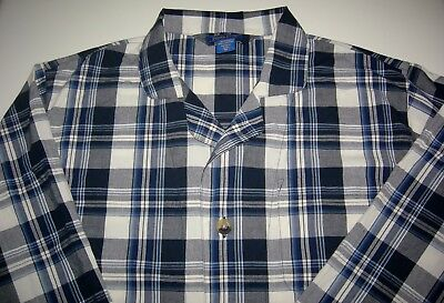 Mens PENDLETON Blue White Plaid Button Front Pajama Shirt Size Medium