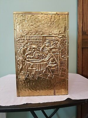 Vtg Antique Brass Umbrella Stand/Walking Cane Holder Embossed