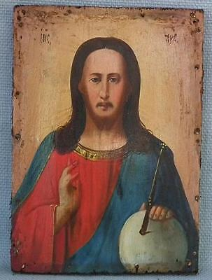 Authentic Antique Russian Orthodox Icon Christ Pantocrator 19th century Russia