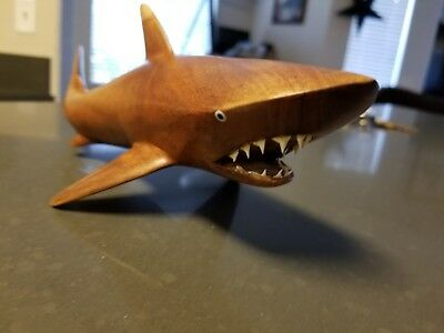 "Wood Tigger Shark 15"" Sculpture Hand Carved with Real Shark Teeth"