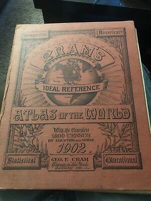 1902 CRAM'S  IDEAL REFERENCE  ATLAS OF THE WORLD w/ 1900 CENSUS  Historical
