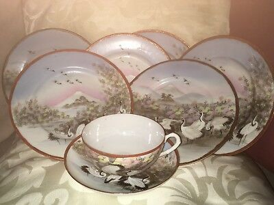 Kutani Eggshell Beautifully Decorated 6 plates + 1 Cup/Saucer Herons & Landscape