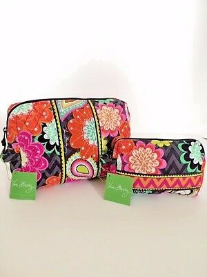 NWT Vera Bradley Travel LARGE & SMALL Cosmetic Bags SET In Ziggy Zinnia