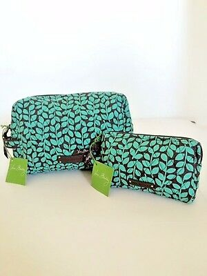 NWT Vera Bradley Travel LARGE & SMALL Cosmetic Bags SET In Shower Vines