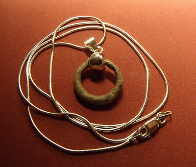 "23mm Ancient Celtic Ring Money Pendant on a 22"" 925 Italy Silver Snake Chain"