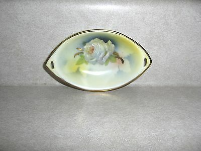 PRUSSIA ROYAL RUDOLSTADT, BUTTER PAT, SALT DIP, OPEN HANDLED, ROSE DESIGN, c1905