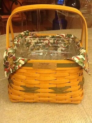 Deck The Halls 2000 Longaberger Basket-Liner- Protectors x 2 Great Preowned Cond