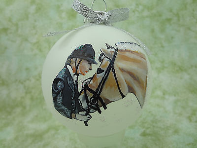 H039 Hand-made Christmas Ornament - horse - fjord and dressage rider nuzzle