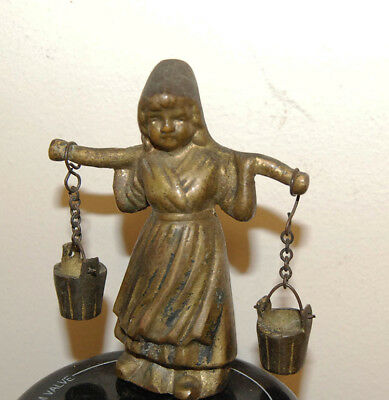 ANTIQUE VINTAGE SOLID BRASS DUTCH WOMAN W/ BUCKETS  SMALL FIGURINE free S&H OLD