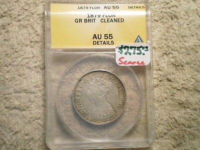 1879 Florin Great Britain Au55 Anacs/ Cleaned