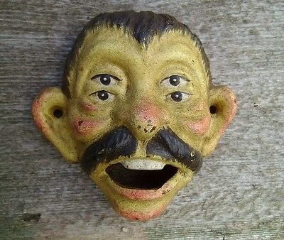 Cast Iron Bottle Opener 4 Eye Drunk Man With A Mustache Aged Patina