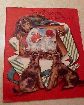 Vintage Airedale Terrier Christmas Card - 1955 or Welsh Terrier
