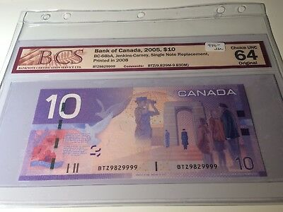 2005 Bank of Canada - $10 Jenkins Carney Replacement BCS CH UNC 64 - BTZ 9829999