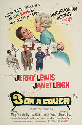 Three on a Couch 1966 27x41 Orig Movie Poster Very Fine Jerry Lewis